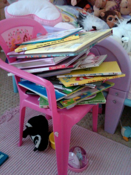 Chair full of books